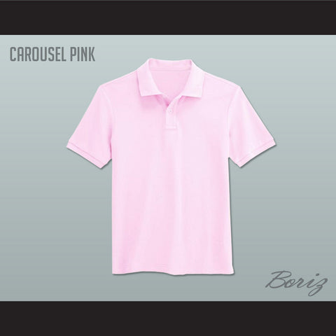 Men's Solid Color Carousel Pink Polo Shirt - borizcustom