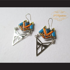 P Middleton Cat Earrings Sterling Silver .925 with Micro Inlay Stones - borizcustom