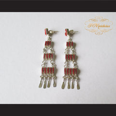 P Middleton Red Chandelier Earrings Sterling Silver .925 with Micro Inlay Stones - borizcustom - 2