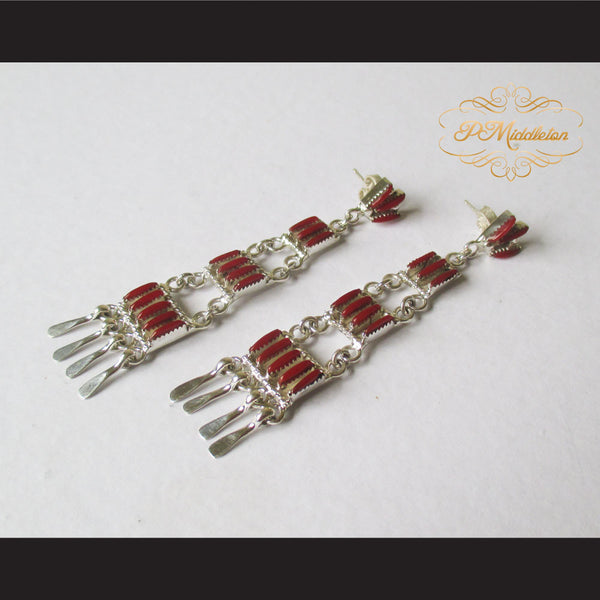 P Middleton Red Chandelier Earrings Sterling Silver .925 with Micro Inlay Stones - borizcustom