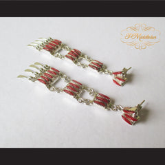 P Middleton Red Chandelier Earrings Sterling Silver .925 with Micro Inlay Stones - borizcustom - 4