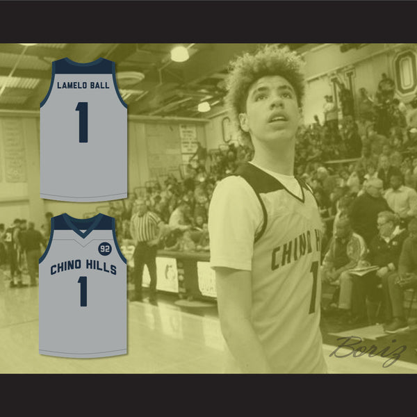... LaMelo Ball 1 Chino Hills Huskies Gray Basketball Jersey 92 Points 8e5cb4731