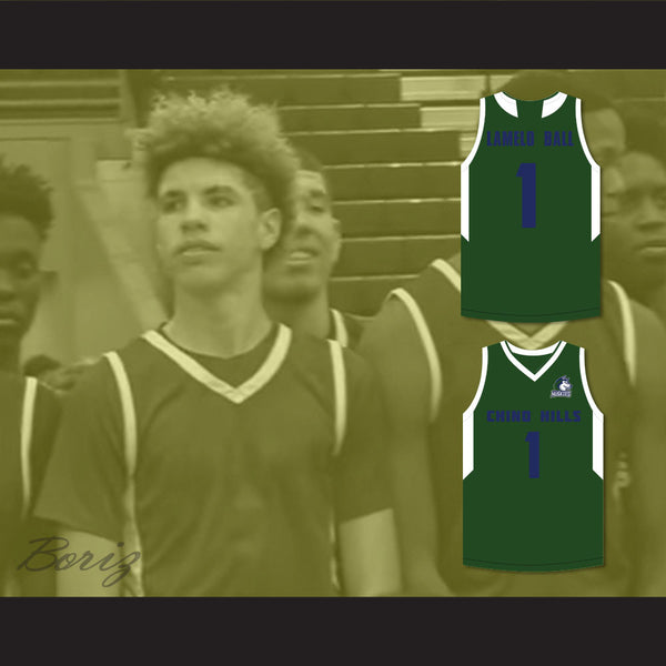 the latest 09e58 3837e LaMelo Ball 1 Chino Hills Huskies Green Basketball Jersey with Patch Lith