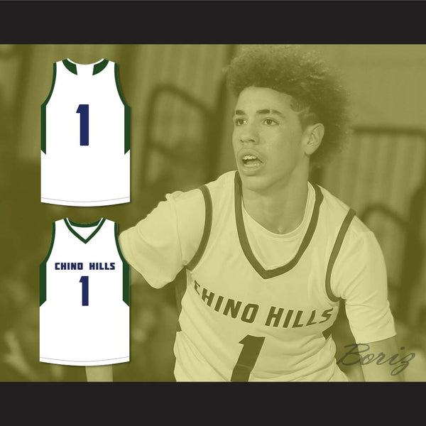 ... LaMelo Ball 1 Chino Hills High School Huskies White Basketball Jersey 2 f9d6fec70
