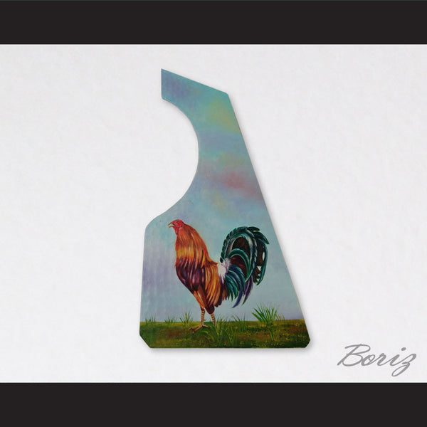 Guitar Pickguard Copper Scratchplate Handpainted Rooster Design 004 - borizcustom