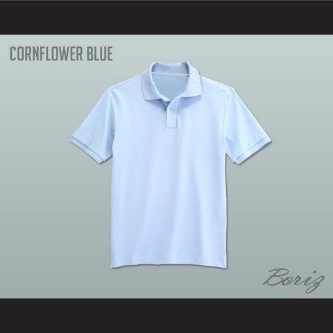 Men's Solid Color Cornflower Blue Polo Shirt - borizcustom