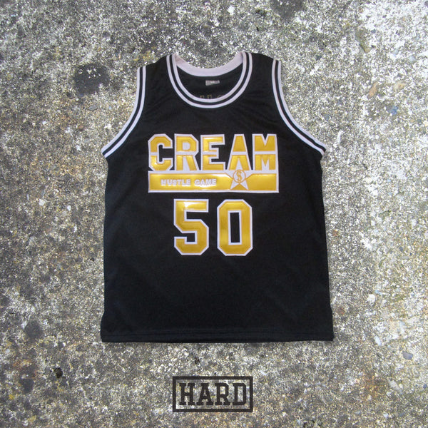 LUCHINI 50 CREAM HUSTLE GAME BLACK & GOLD BASKETBALL JERSEY by HARD - borizcustom - 1
