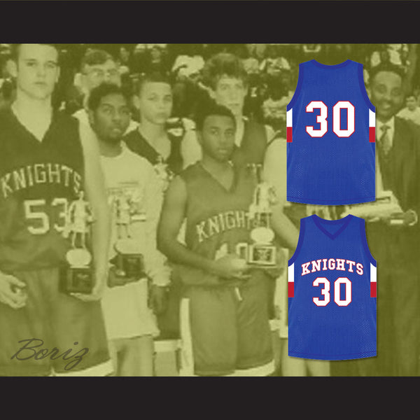 pretty nice c6743 663e0 Stephen Curry 30 Charlotte Christian High School Knights Blue Basketball  Jersey