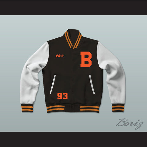 Chris Brown Black Varsity Letterman Jacket-Style Sweatshirt - borizcustom - 1