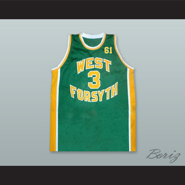 8098d125c Chris Paul 3 West Forsyth High School Green Basketball Jersey 61 Tribute to  Grandfather