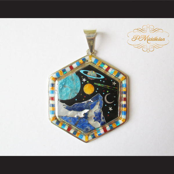 P Middleton Cosmic Hexagon Pendant Sterling Silver .925 with Micro Stone Inlay - borizcustom
