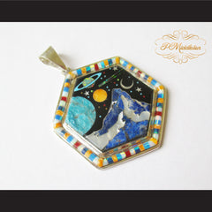 P Middleton Cosmic Hexagon Pendant Sterling Silver .925 with Micro Stone Inlay - borizcustom - 3
