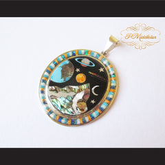 P Middleton Cosmic Scene Pendant Sterling Silver .925 with Micro Inlay Stones - borizcustom