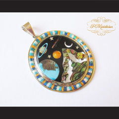 P Middleton Cosmic Scene Pendant Sterling Silver .925 with Micro Inlay Stones - borizcustom - 3