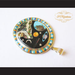 P Middleton Cosmic Scene Pendant Sterling Silver .925 with Micro Inlay Stones - borizcustom - 4