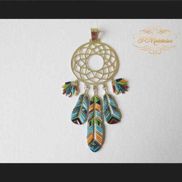 P Middleton Dream Catcher Pendant Sterling Silver .925 with Micro Inlay Stones - borizcustom