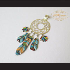 P Middleton Dream Catcher Pendant Sterling Silver .925 with Micro Inlay Stones - borizcustom - 2