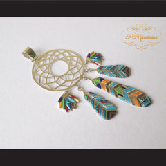 P Middleton Dream Catcher Pendant Sterling Silver .925 with Micro Inlay Stones - borizcustom - 3