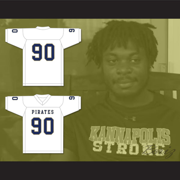 check out 291a3 73b9d Dantrell Barkley 90 Independence Community College Pirates White Football  Jersey