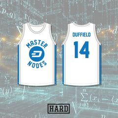 Evan Duffield 14 Dash Master Nodes Home Basketball Jersey Crypto League by HARD