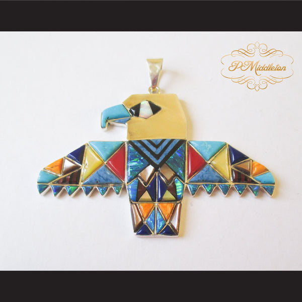 P Middleton Eagle Pendant Sterling Silver .925 with Micro Inlay Stones - borizcustom - 1
