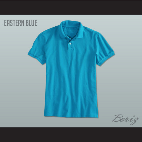 Men's Solid Color Eastern Blue Polo Shirt - borizcustom