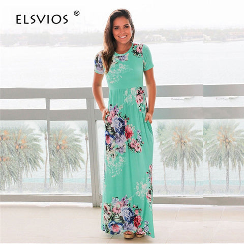 6d8972cb06b9f ELSVIOS Women Bohemia Floral Print Summer Dress 2018 Casual Short Sleeve O  Neck Beach Boho Long