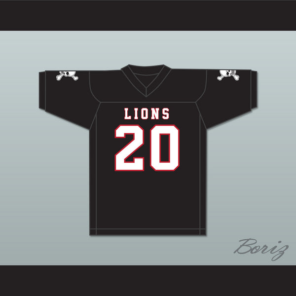 info for 990f6 6fe74 CJ Reavis 20 EMCC Lions Black Football Jersey Includes Patches
