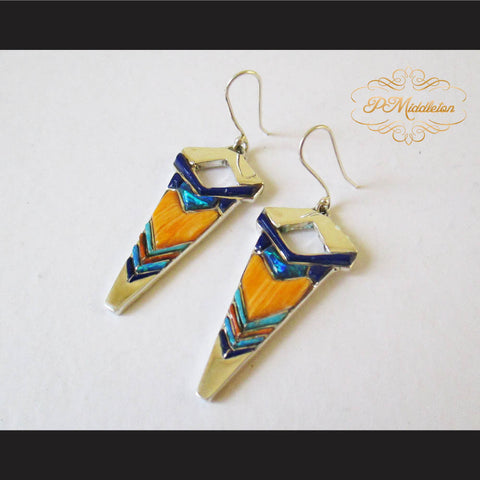 P Middleton Arrow Earrings Sterling Silver .925 with Micro Stone Inlay - borizcustom