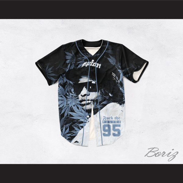 Eazy-E 95 Fuck The Police Cannabis Black Baseball Jersey
