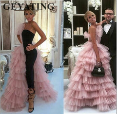 Elegant Black Straight Dubai Prom Dresses 2019 Pink Tulle Long Arabic Evening Gowns Tiered Ruffle Formal Women Formal Party Gown