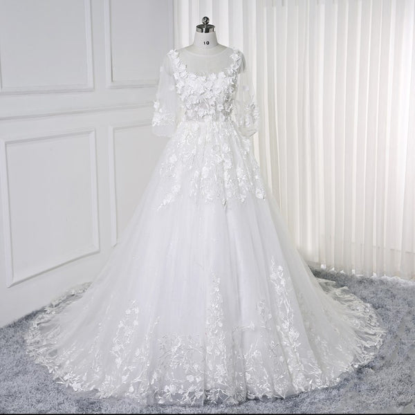 Elegant white Lace Princess Wedding Dresses 2019 African Black Girls  Flowers Sheer Neck Puffy Ball Gowns Bridal Gowns