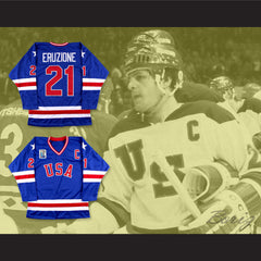 1980 Miracle On Ice Mike Eruzione 21 USA Blue Hockey Jersey with Patch - borizcustom