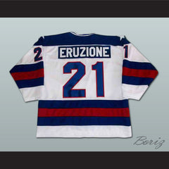 1980 Miracle On Ice Mike Eruzione 21 USA White Hockey Jersey with Patch - borizcustom