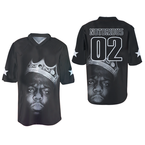 The Notorious B.I.G. Biggie Smalls football Jersey Dye Shirt Prints Crown