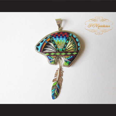 P Middleton Bear Feather Pendant Sterling Silver .925 with Micro Stone Inlay - borizcustom