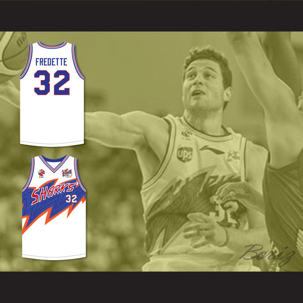 2c4284a3a620 ... Jimmer Fredette 32 Shanghai Sharks White Basketball Jersey with CBA   Sharks  Patch ...
