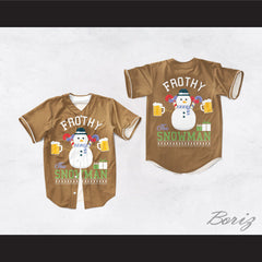 Frothy The Snowman Christmas Brown Baseball Jersey