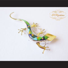P Middleton Gecko Brooch Sterling Silver .925 with Micro Inlay Stones - borizcustom - 3