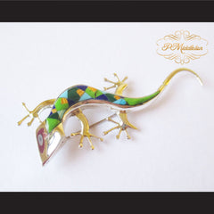 P Middleton Gecko Brooch Sterling Silver .925 with Micro Inlay Stones - borizcustom - 4
