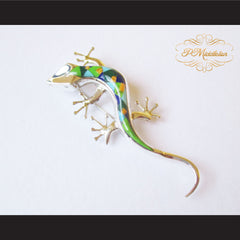 P Middleton Gecko Brooch Sterling Silver .925 with Micro Inlay Stones - borizcustom - 5