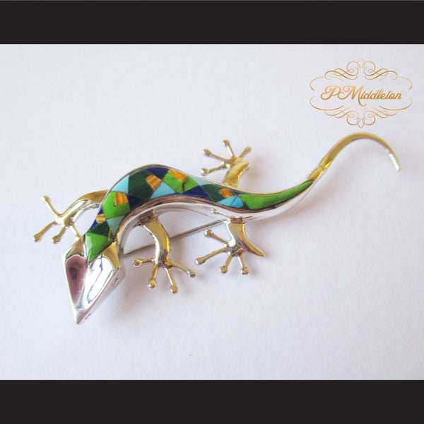 P Middleton Gecko Brooch Sterling Silver .925 with Micro Inlay Stones - borizcustom