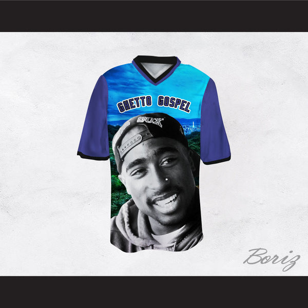 Tupac Shakur 6 Ghetto Gospel Mountains Football Jersey