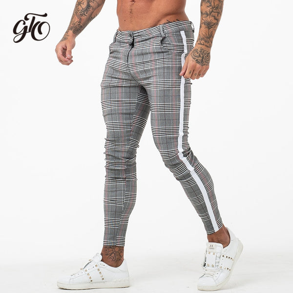 elegant appearance new lower prices high quality materials Gingtto Mens Chinos Slim Fit 2019 Men Skinny Chino Pants Super Comfy  Stretch Pants For Men Plaid Design Side Stripe zm355
