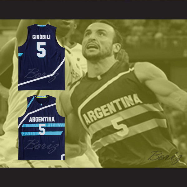 low priced 5359c c5f1f Manu Ginobili 5 Argentina Basketball Jersey Any Player or Number Stitch Sewn