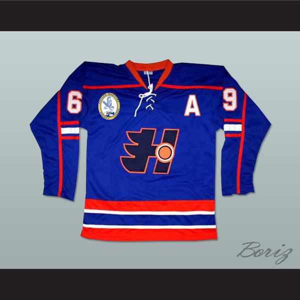 Goon Doug Glatt Halifax Highlanders Hockey Jersey Includes EMHL and A Patches - borizcustom