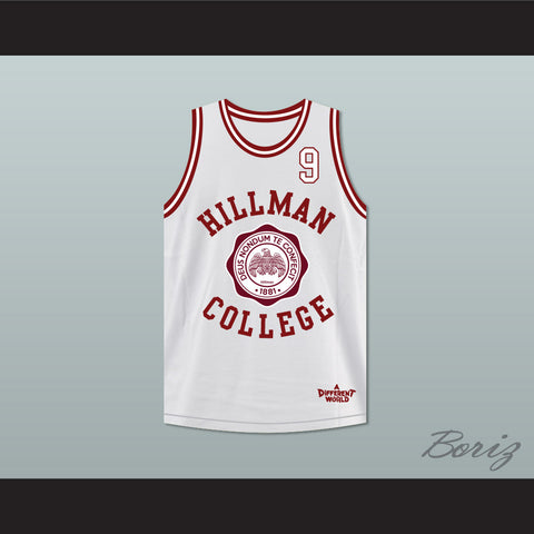 06f73a710 Dwayne Wayne 9 Hillman College White Basketball Jersey Deluxe A Different  World