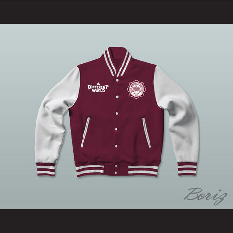 Hillman College Maroon Varsity Letterman Jacket-Style Sweatshirt A Different World - borizcustom - 1