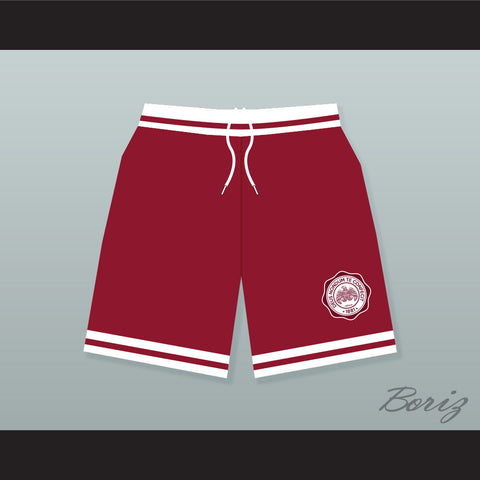 Hillman College Maroon Basketball Shorts with Eagle Patch - borizcustom - 1