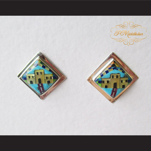P Middleton Adobe Home Design Multi-Stone Inlay Earrings Sterling Silver .925 - borizcustom